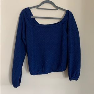 Blue Free People Cropped Pullover Top